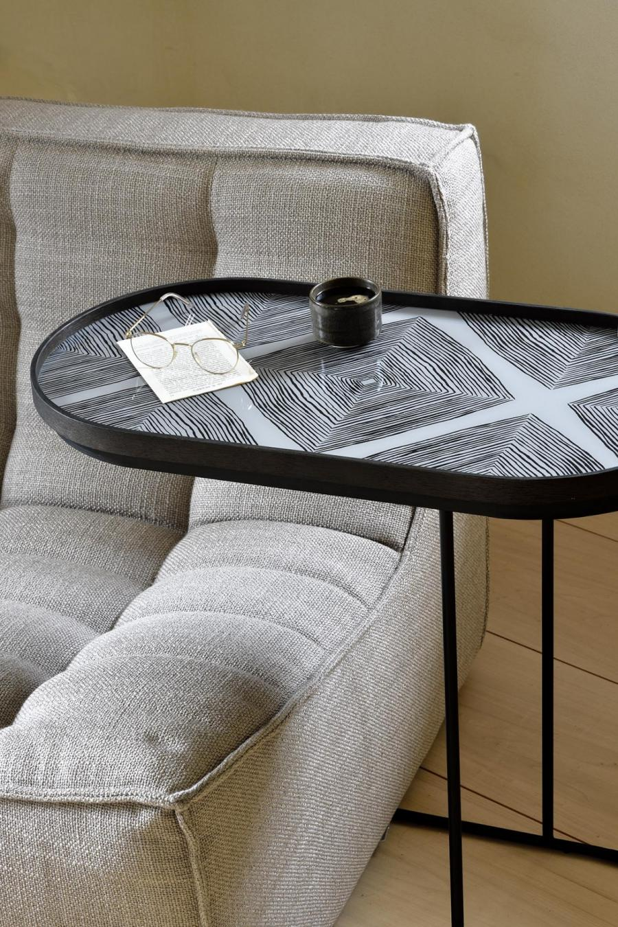 Ethnicraft - Ovalen dienbladen - Slate Linear Squares glazen dienblad - M