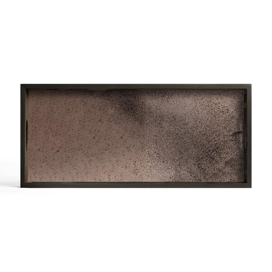 Ethnicraft - Rechthoekige dienbladen - Walnut Linear Squares glazen dienblad - M