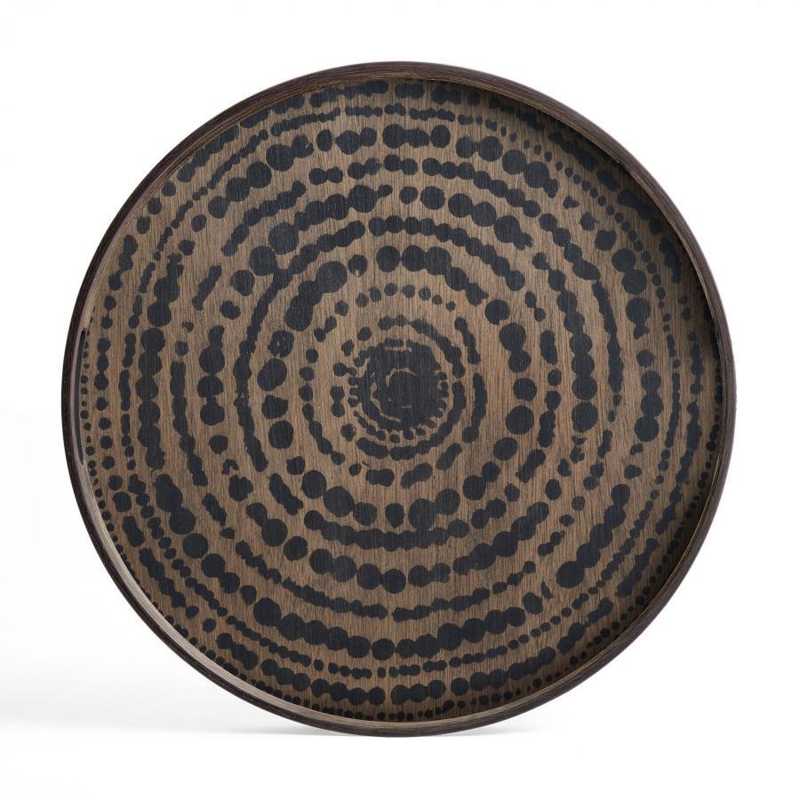 Ethnicraft - Ronde dienbladen - Black Marrakesh houten dienblad - L