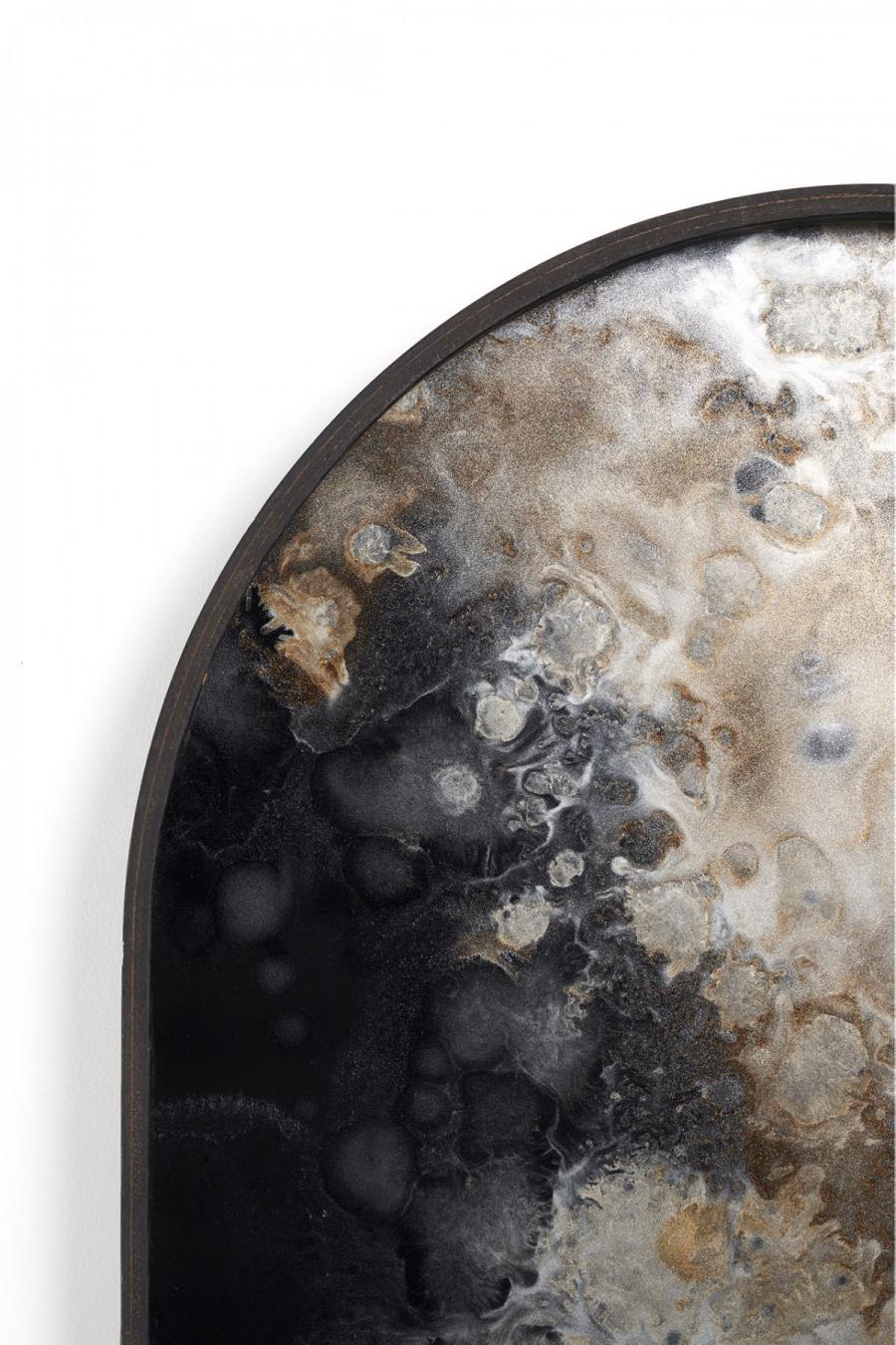 Ethnicraft - Ovalen dienbladen - Black Organic glazen dienblad - M