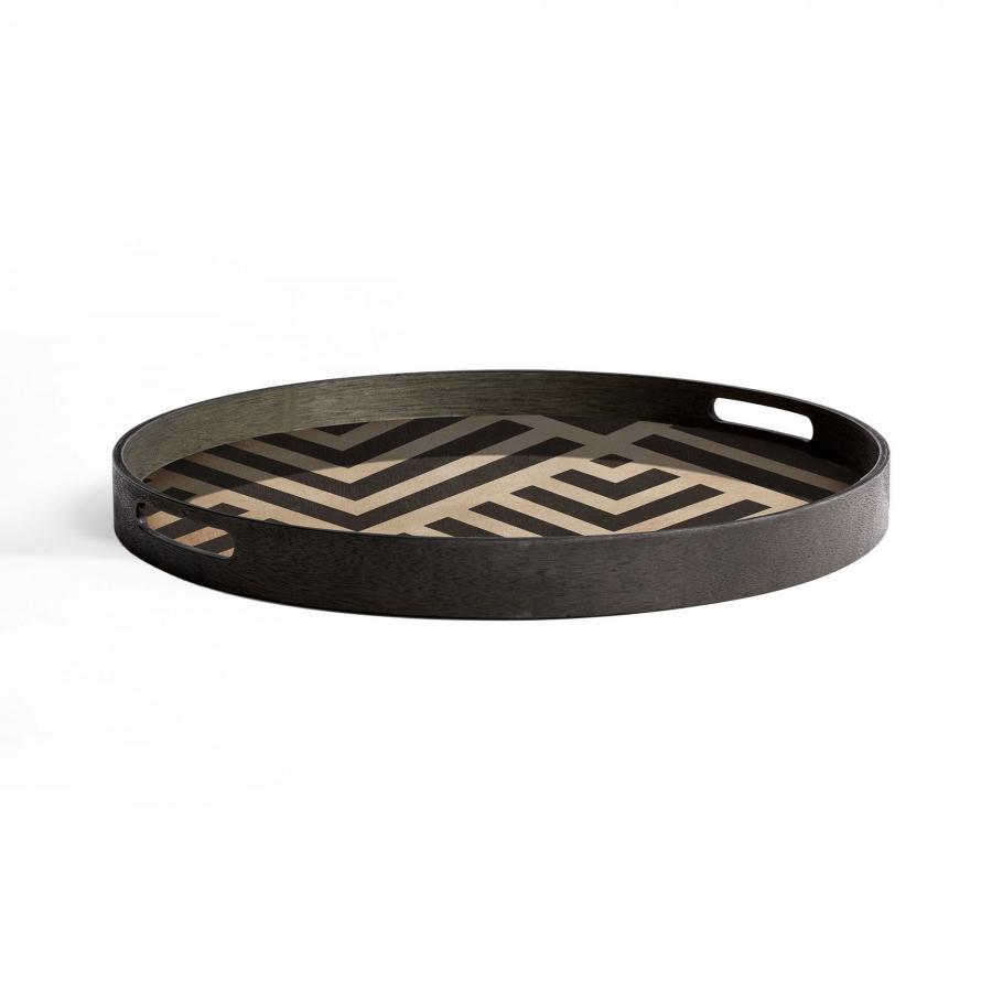 Ethnicraft - Ronde dienbladen - Graphite Chevron houten dienblad - S