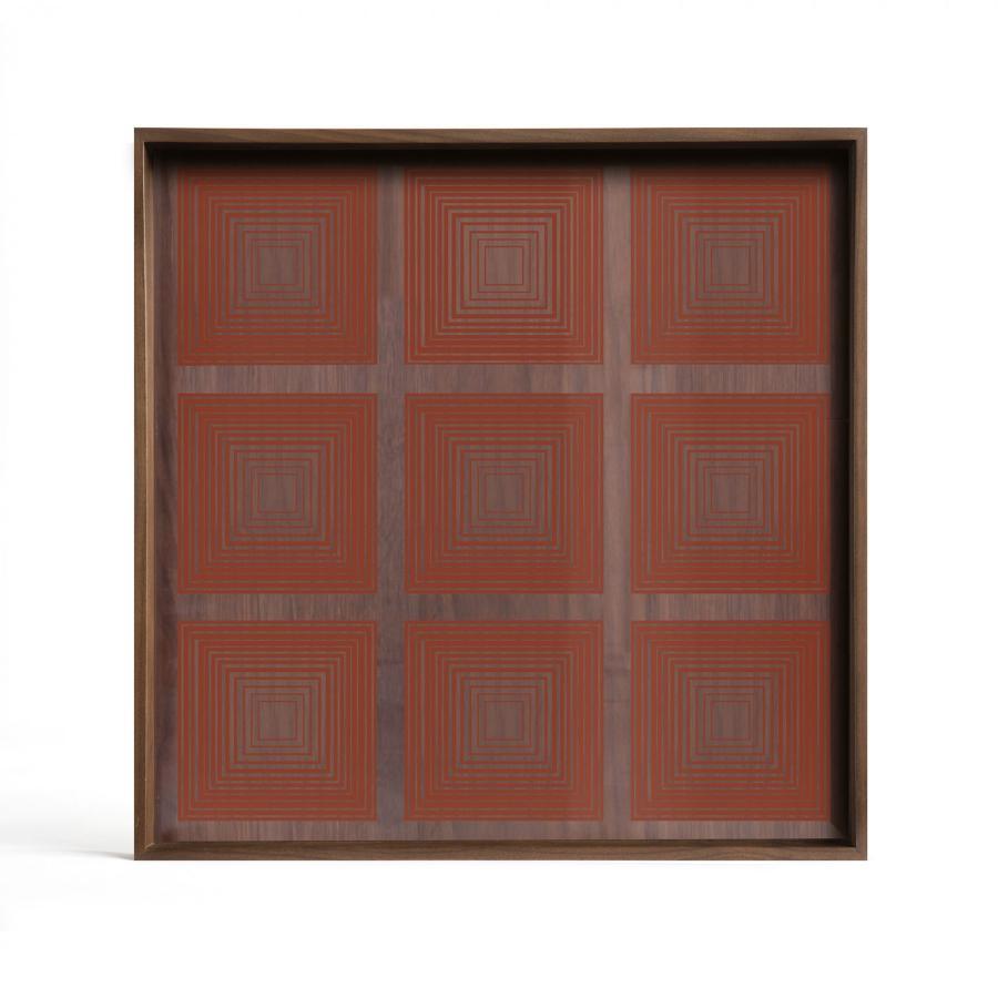 Ethnicraft - Vierkante dienbladen - Pumpkin Squares glazen dienblad - S