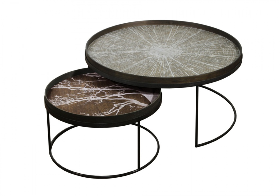 Ethnicraft - Salontafels - Ronde Tray salontafel set